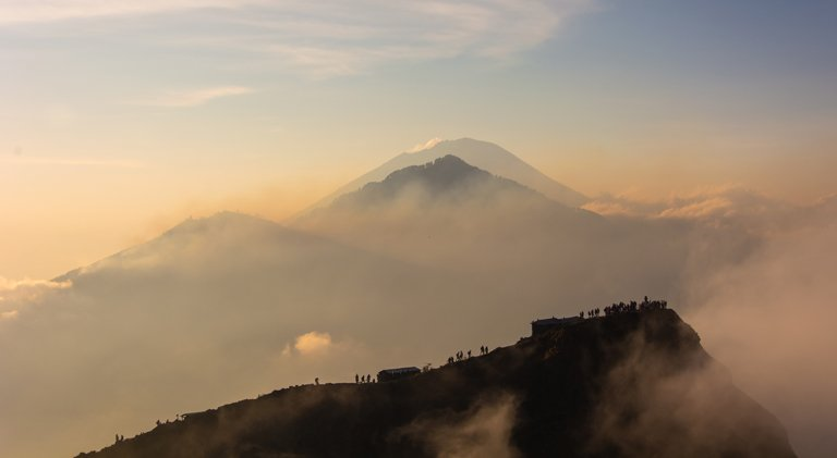 Sunset with Batur volcano in the background, Bali