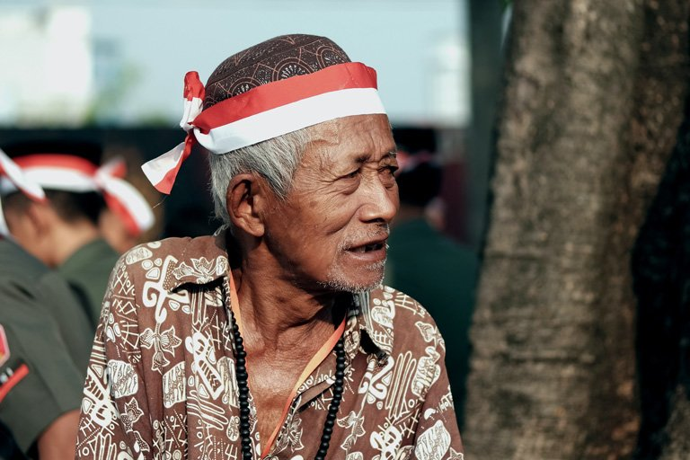 An elder person celebrating Independence Day of Indonesia
