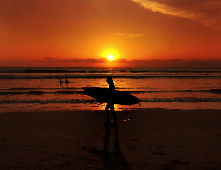 Man with a surfboard with the sunset in the regency of Badung, Bali