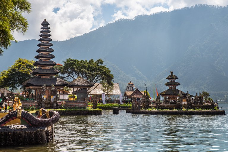 The Ulun Danu Beratan Temple on the Beratan Lake, Bali