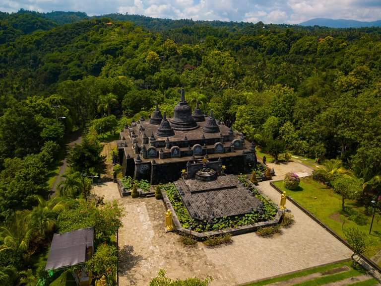 Aerial view of the Buddhist temple Brahma Vihara Arama, Bali