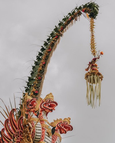 Streets decorated with Penjar for the Galungan and Kuningan festivities in Bali
