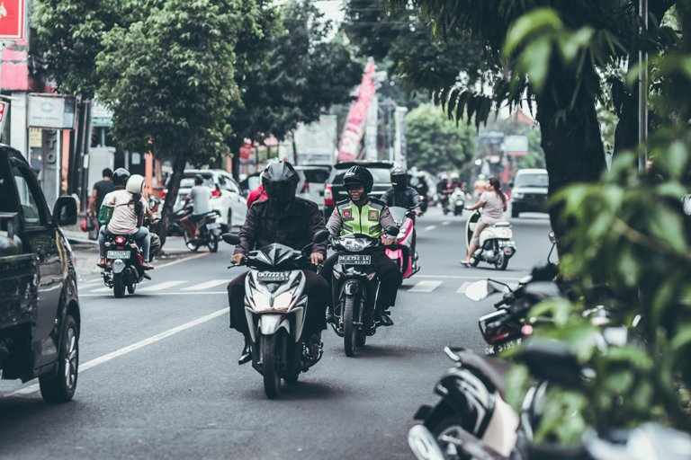 Traffic on a normal day in Denpasar, Bali