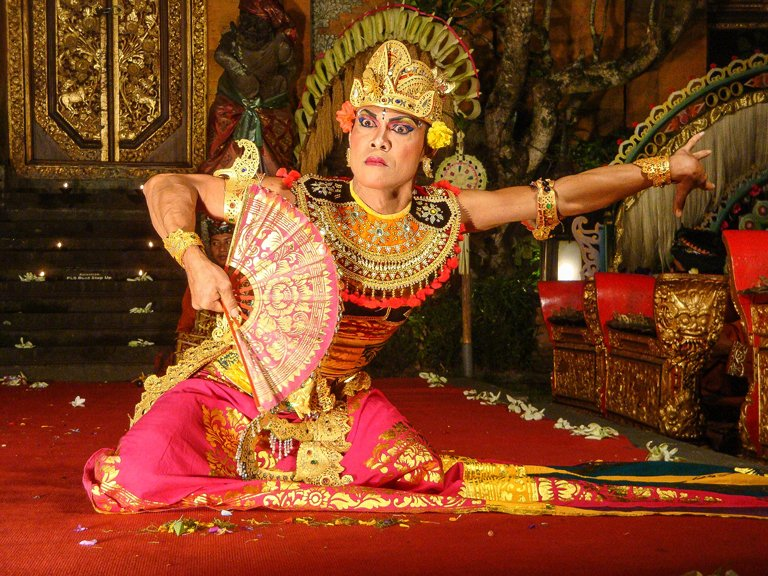 A person performing the Kebyar Balinese traditional dance
