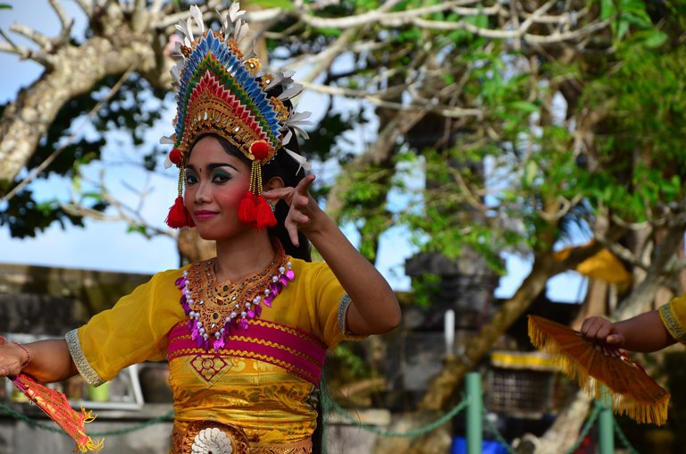 Woman performing the Yoged Balinese traditional dance