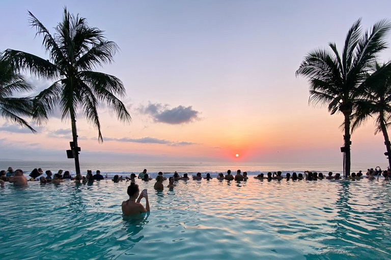 Sunset from the infinity pool in the Seminyak area of Bali